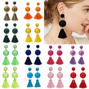 Hot-Womens-Fashion-Bohemian-Earrings-Long-Tassel-Round-Boho-Dangle-Earrings-Gift