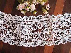 New @ Gorgeous White Hand Batten Lace Cotton 23cm Lace Ribbon Trim Per Meter
