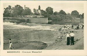 Ansichtskarte Magdeburg Cracauer Wasserfall Personen  (Nr.9619)