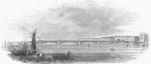 RUSSIA New bridge at St Petersburg antique print 1845