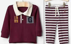 GAP Baby Boy Long Sleeve Rugby Top + Soft Pants Striped Cotton Ruby 12-18 18-24