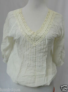 TEMT-Embroidered-V-Neck-Tunic-Boho-Top-10-Blouse-Lace-S-White