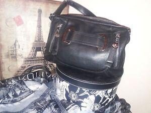 Image Is Loading Makowski Black Leather Handbag With Silver Hardware