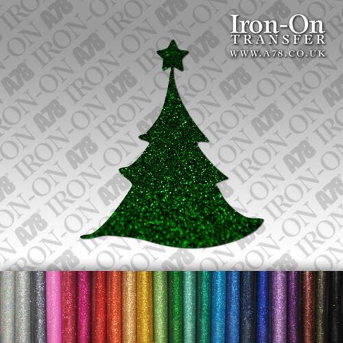 Glitter Tree IRON-ON Christmas  FABRIC TRANSFER SEQUIN T-Shirt Sticker shape HTV
