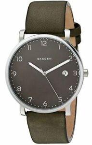 Skagen-Men-039-s-Hagen-Watch-in-Silvertone-with-Green-Leather-Strap-SKW6306