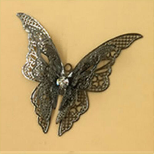 4pc 35x45mm gunmetal finish butterfly pendants-7524b