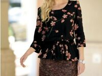 Women's Fall Winter Spring Cocktail Blouse Top Black Floral Print Tunic Plus 3x