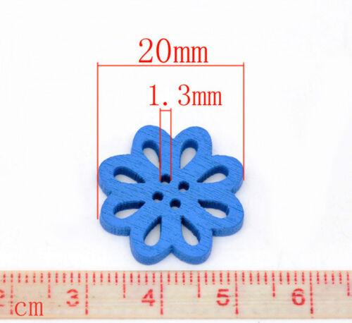8 botones flor 20 mm de colores madera botones botón cuatro agujeros coser joyas 14020 #