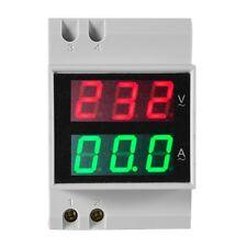 Digital Din Rail Current Voltage Ammeter Voltmeter Dual LED Meter AC80-300V 100A