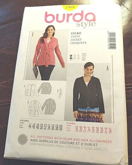 Misses' Jacket Styles Sz Fitted 7101 18 Sewing 2 34 Semi Burda Easy Pattern wPZuXTOki