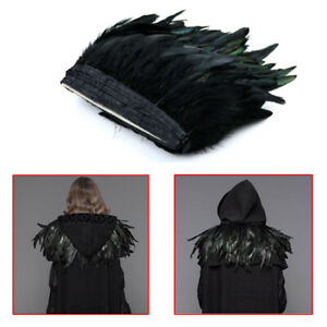 1Pc-Black-Bronze-Rooster-Coque-Feather-Fringe-Ribbon-Trim-Craft-Cosplay-Decor