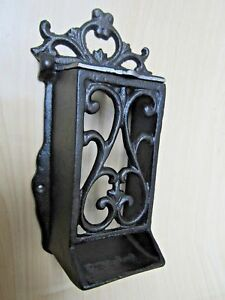 RUSTIC-VINTAGE-STYLE-CAST-IRON-ORNATE-MATCH-STICK-BOX-MATCHBOX-HOLDER-FIRESIDE