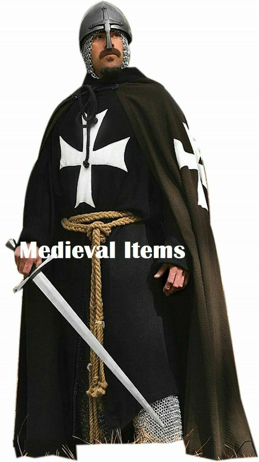 Ancient Knights Cloak & Full Sleeve Tunic Crusader Costume Cotton Templar