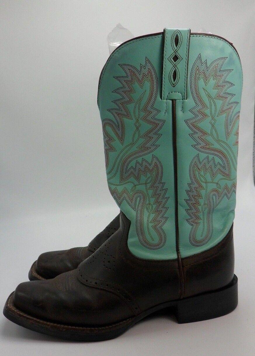 Justin turquesa aguamarina marrón Talla Leather Vaquera Occidental botas Talla marrón 9 C Estilo L4853 18c51d
