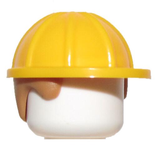LEGO NEW BRIGHT LIGHT ORANGE MINIFIGURE CONSTRUCTION HELMET WITH HAIR PIECE