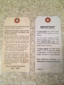 1969-1973 Buick Riviera Factory GM Dash Hang Tags. Cold ...