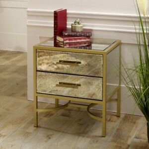 Gold-framed-antique-glass-mirrored-bedside-occasional-table-bedroom-living-room