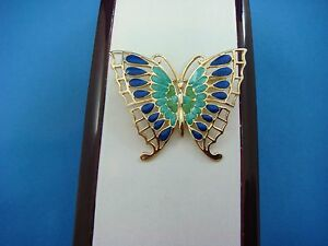 !BEAUTIFUL 14K YELLOW GOLD BUTTERFLY BROOCH WITH MULTI-COLOR ENAMEL,6.4 GR,ITALY