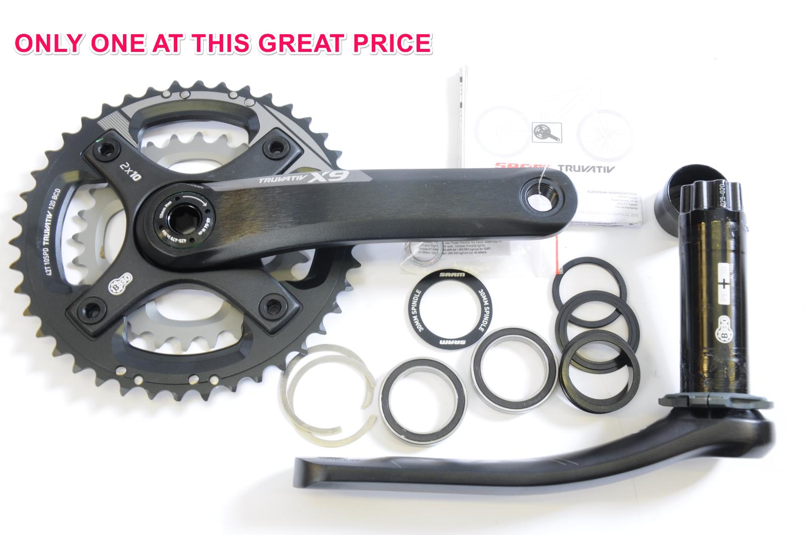 Truvativ SRAM X9 2.2 10 Velocità Doppio chainwheel pedaliera in BB30 4228T 170mm Manovella