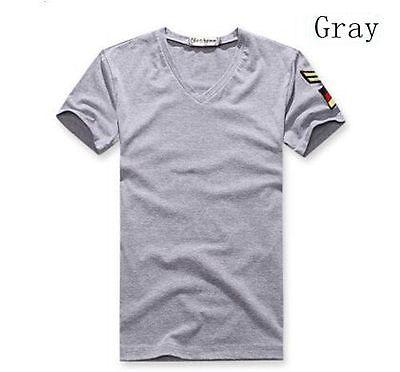 New Men Tops Tee Shirt Armband Slim Fit V-Neck Cotton Tarmac Casual T-Shirt