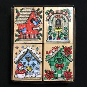 Christmas Birdhouses.Details About 4 Christmas Birdhouses Hero Arts Rubber Stamps Clean Blue Birds Snowmen
