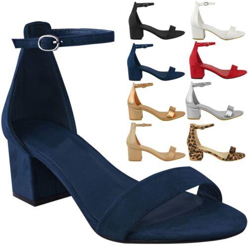 Mujer Damas Tacón Bajo Bloque Negro Correa De Tobillo Sandalias trabajar Inteligente Zapatos Talla