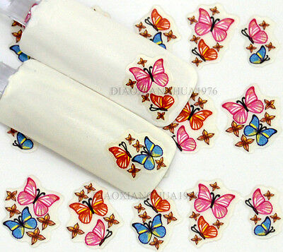 NEW 3D Design Colorful Butterfly Adhesive Nail Art Stickers Decals Decoration