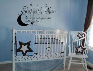 Shoot For The Moon Stars Vinyl Decal Wall Lettering Words Baby Quote