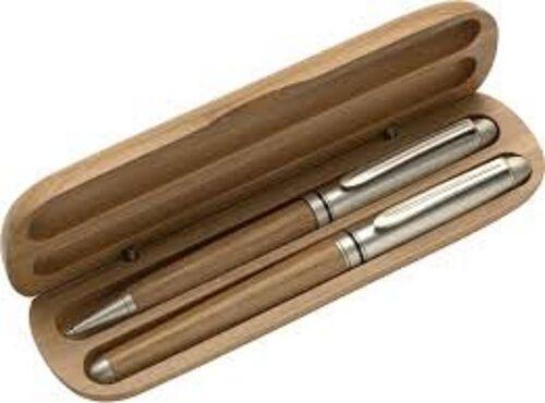 Schreibset /'Schleswig/' aus Bambus Dreh-Kugelschreiber und Rollerball