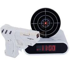 Target Desk Clock Creative Shooting Alarm Wake Up Gadget LCD Laser Gun Toy