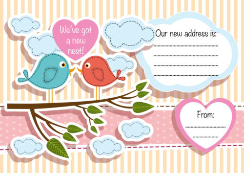 Cute Bird Design pack of 16 We/'ve got a new nest UK Made Moving Home Card