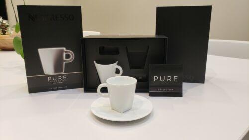 NESPRESSO Coffee Pure Collection White Espresso Cups /& Saucers Set Of 2 3oz Shot
