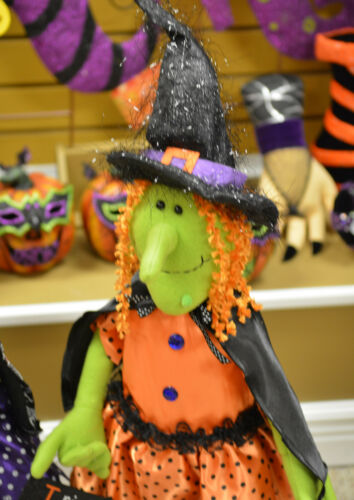 Halloween Witch Standing Doll Figurine with stretch legs 25 in to 34 in tall NEW