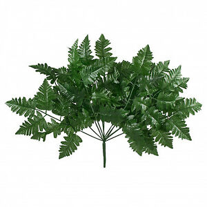 12 Leather Fern Stems Fronds ~ Filler Greenery Silk Wedding Flowers Centerpieces