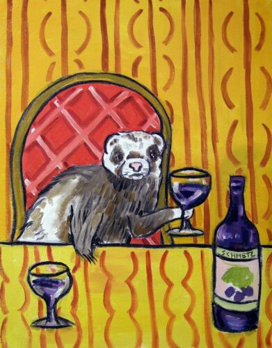ferret wine 13x19 reproduction of painting print animals artist impressionism
