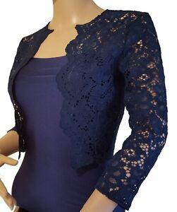 Ladies-corded-Lace-scalloped-front-3-4-sleeve-Bolero-Jacket-Sizes-UK-8-20