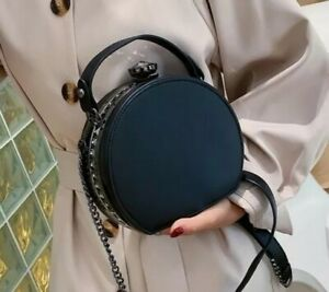 Black PU Leather Diamond Rivet Round Crossbody Bag