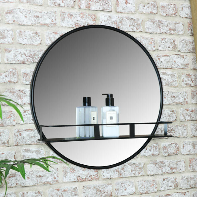Round black metal wall mirror shelf display modern ...