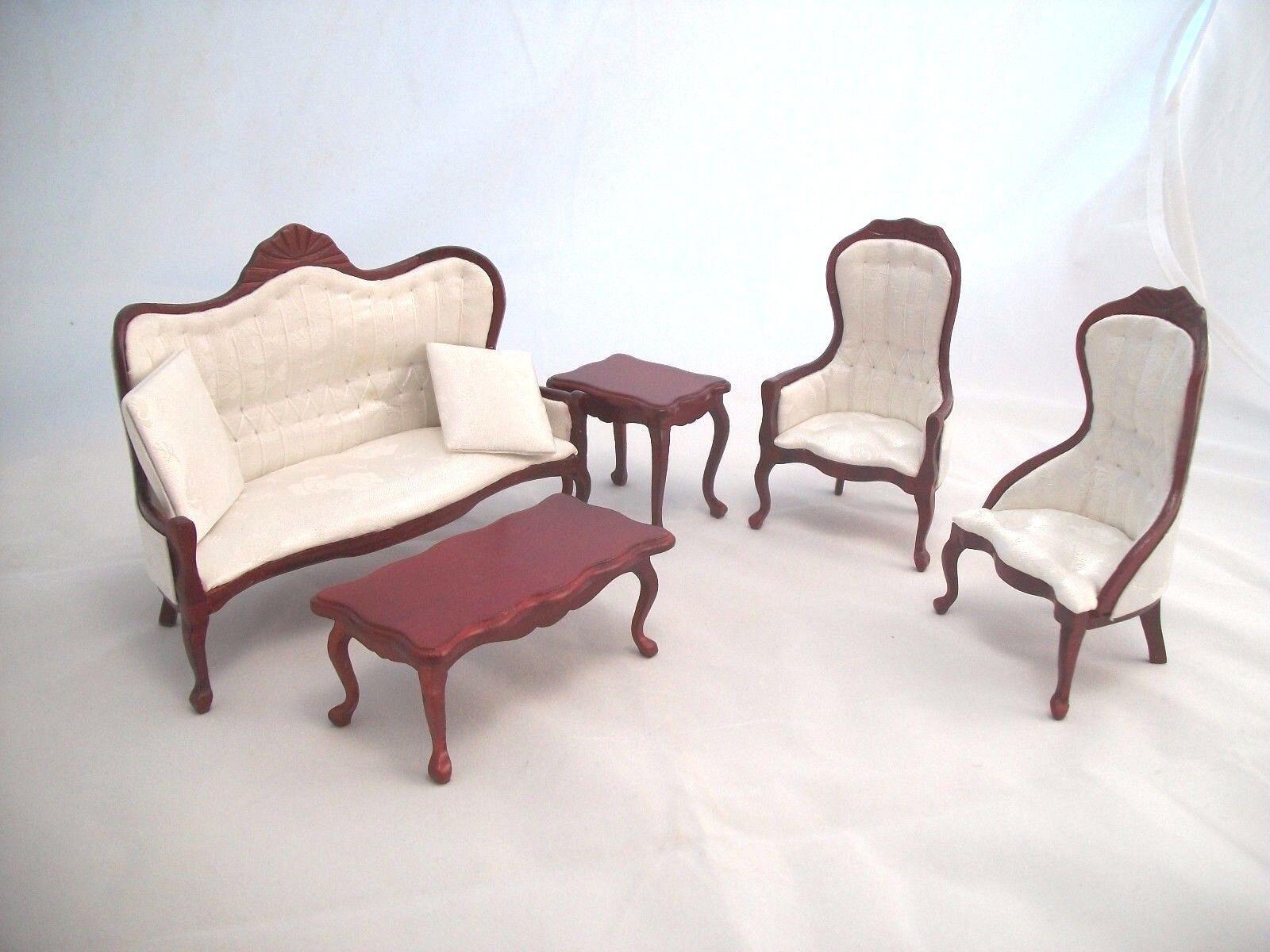 Victorian Living Room Parlor Set Mahogany Finish Dollhouse 1 12 Scale T0128 5pcs