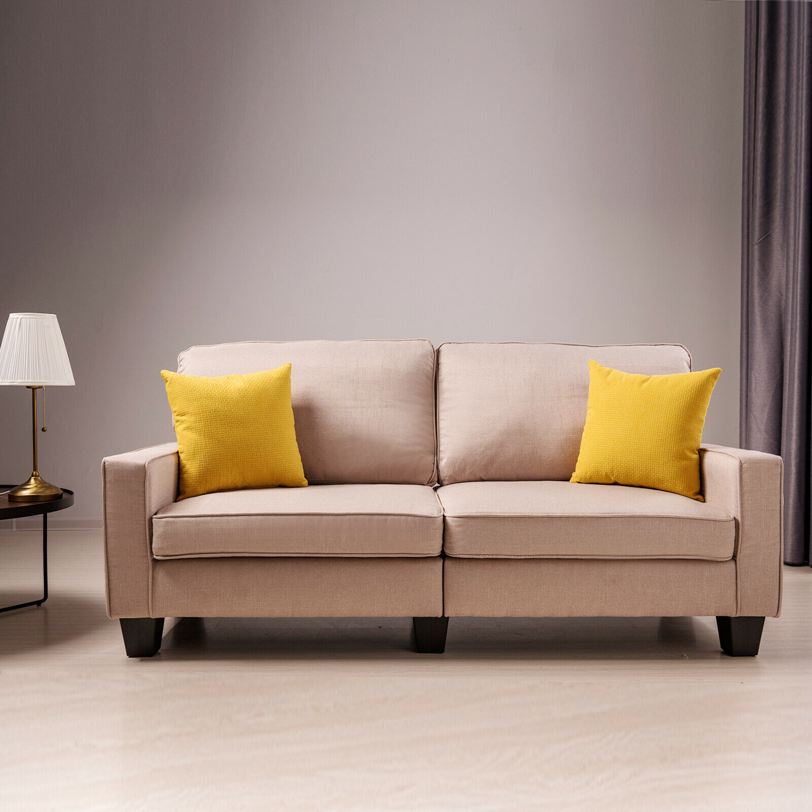 Upholstered Loveseat Sofa Linen Fabric Couch Track Armrest Living Room Furniture