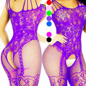 15892a5c7cc Image is loading Lingerie-Sexy-Bodysuit-Bodystocking-Stocking-Nightwear- Sleepwear-Lace-