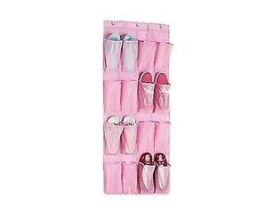 16 Bolsillos Rosa sobre la Puerta de almacenamiento de Zapatos Ropa Colgador Organizador