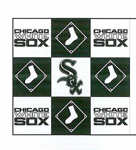 Chicago-White-Sox-MLB-Squares-Baseball-Print-Fleece-Fabric-by-the-Yard-s6573bf