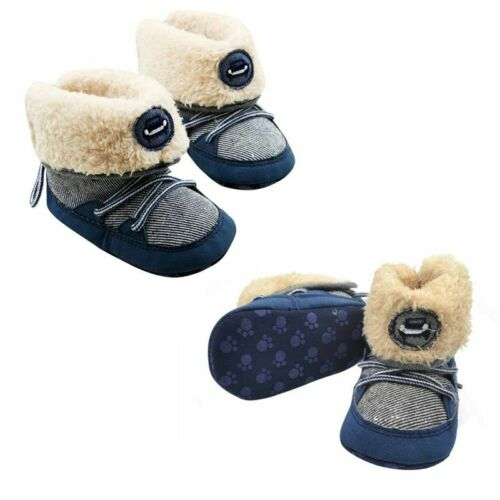 0-18M Infant Baby Boy Winter Booties Faux Fur Snow Boot Soft Sole Crib Shoes US