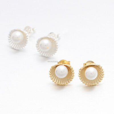 Delicate Tiny Sea Shell with Pearl Accent Stud Earrings Silver Post Back