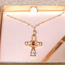 "Genuine Australian Crystal Cross Necklace with 18"" Gold Chain"