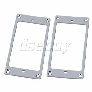 2x-Metal-Plat-Cou-amp-Bridge-Humbucker-Pickup-Mounting-Ring-Chrome