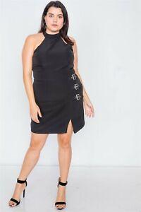 Women-039-s-Black-Plus-Size-Halter-Buckle-Hip-Mini-Dress
