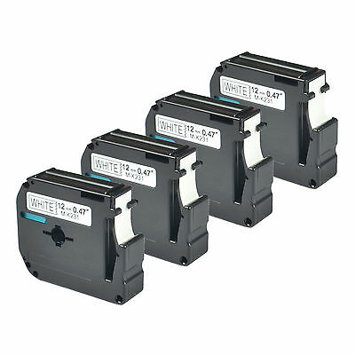 4 pack for Brother P-touch PT80 PT70 Black on White Label Tape M-K231 MK231