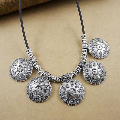vintage round spiral Bohemian Tibetan Silver Pendant statement Necklaces women